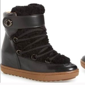 Coach Shearling Wedge Boots